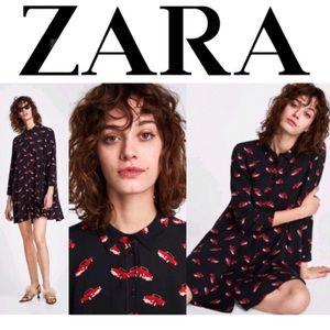 Zara Red Car Printed Button Down Shirt Tunic Dress